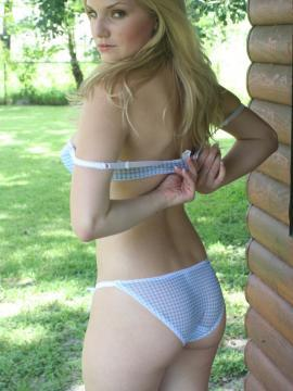 Lizzie loves to tease in her sexy yet simple blue and white checkered bra with matching panties