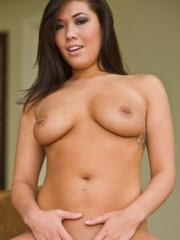 Natural and busty Asian London Keyes strips down to her panties