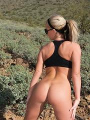 Hot blonde babe Melissa gets hot on her hike and takes her clothes off