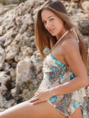 """Beautiful girl Dominika A shows you her long legs and tight pussy in """"Fodde"""""""