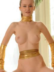 Emily Bloom dresses up as a sexy arabian princess ready to make your wishes come true