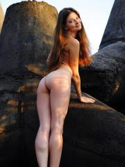 Beautiful redhead Indiana A displays her perfect body outside