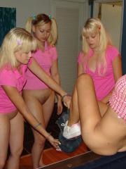 Horny sisters Cali and Cherish have a hot lesbian foursome!