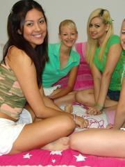 Blonde twins Cali and Cherish get their friends over for some hot lesbian fun time