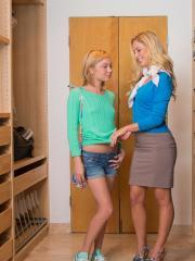 Teen girl Dakota Sky gets taught how to fuck by Cherie Deville