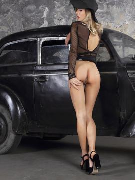 Gorgeous blonde girl Karissa Diamond stripping with a vintage car