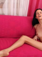 Leggy girl Mia Michele makes her horny twat cum when she pleasures herself with a dildo