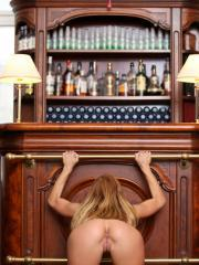 Beautiful redhead Chrissy Fox gets naked for you at the bar