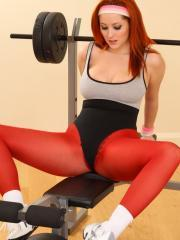 Lucy V is working up a sweat in her opaque pantyhose