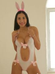 Latina Franchesca Colucci is dressed up in a sexy bunny costume