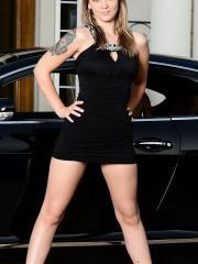 Natalie Haze uses her hitachi wand as she cums hard in a Bentley wearing a tight black dress