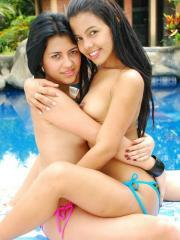 Pictures of Gigi and Vanessa having some poolside lesbian fun