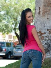 Brunette teen Stephanie flashes her ass in public