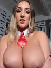 Natural breasted goddess Stacey Poole strips and teases by the computer