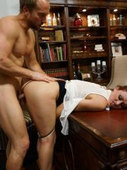 Hot redhead Karlie Montana gets fucked hard by her boss in his office