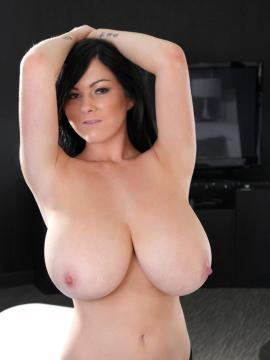 Rachel Aldana shows you her big natural tits in the living room