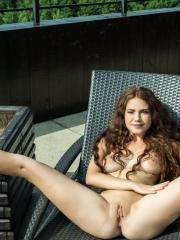 "Brunette coed Norma Joel shows you her naked body outside in ""Vilstol"""