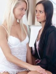 Grace C and Kari A turn flirting into sensuous passion and love making
