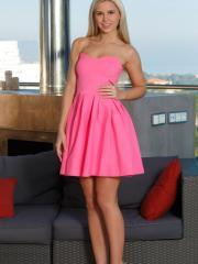 "Blonde teen Lola Myluv strips out of her pink dress in ""Aketa"""
