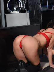 Brunette hottie Summer St Claire shows you her boobs in red lingerie and black boots