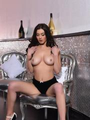 Summer St Claire exposes her natural boobs in the vip lounge