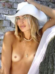 Blonde beauty Sweet Lilya poses outside in Cowgirl Chic
