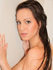 Hot girl Talia Shepard uses a toy to get herself off in the shower