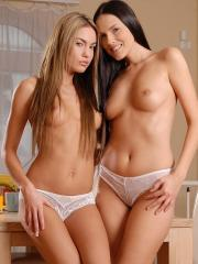 Pictures of Veronika Fasterova and Charlie in sexy lingerie enjoying each other