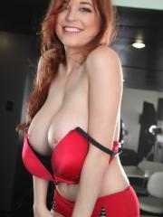 Sexy busty redhead Tessa Fowler shows off her amazing all natural tits