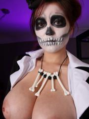 Tessa Fowler gets dressed in her Halloween costume and exposes her boobs