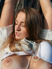 "Pretty girl Kristine gets tied and chained up outside in ""Enchanted"""