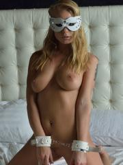 """Blonde babe Darina chains herself up for you in """"Pleasurable"""""""