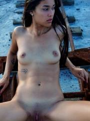 "Exotic babe Maarit spreading outside in ""Edge Of The Earth"""