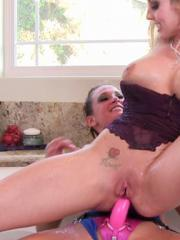 Christie Stevens and Tory Lane get hot and wild with the strap-on