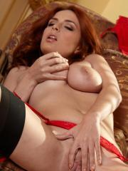 Ashley Graham warms up by gently massaging her aroused clit