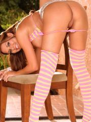 Nicole Graves sexy pink stockings