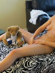 Teen hottie Val Midwest gets naked and masturbates on her favourite chair
