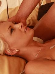 Blonde hottie Ivana Sugar gets her tight pussy fucked deep and hard in bed