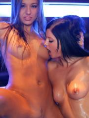 "Amazing teens Monika and Dominika get all oiled up together in ""Play Unlawfully"""