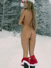 "Beautiful blonde Veronika dresses up as sexy santa in ""Merry Christmas"""
