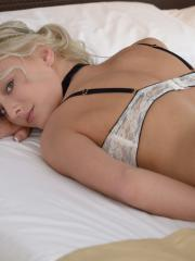 Blonde beauty Kim enjoys some hot sex in bed