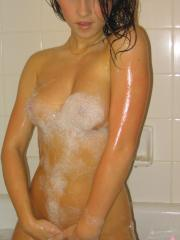 Kate shows off her perfect perky boobs as she gets into the bubble bath