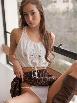 Pretty coed Carlee Delima shows you what's up her skirt at college