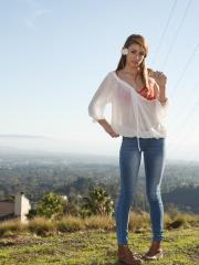 Redhead teen Gracie Thibble teases in her blue jeans outside