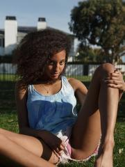Ebony girl Bell Richardson flashes and stretches in public