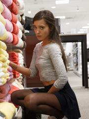 Hot coed Gia Paige gets naughty at a shopping mall